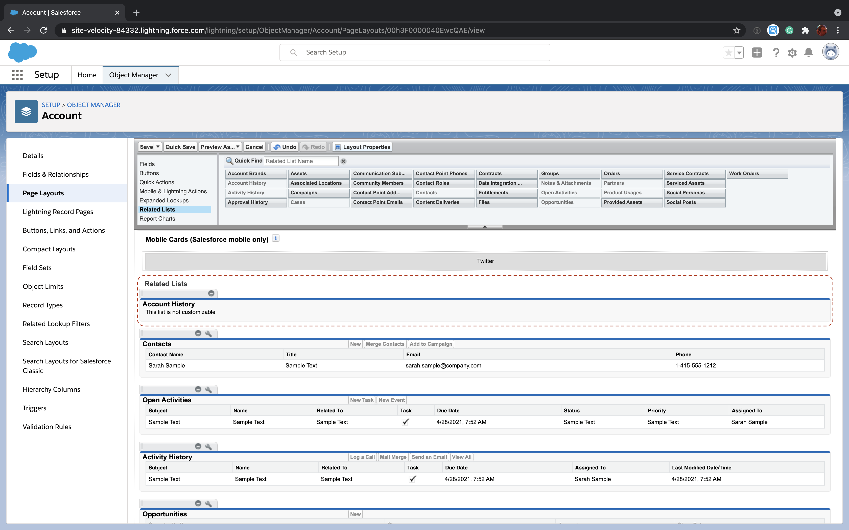 Add a field history related list to a Salesforce object page layout