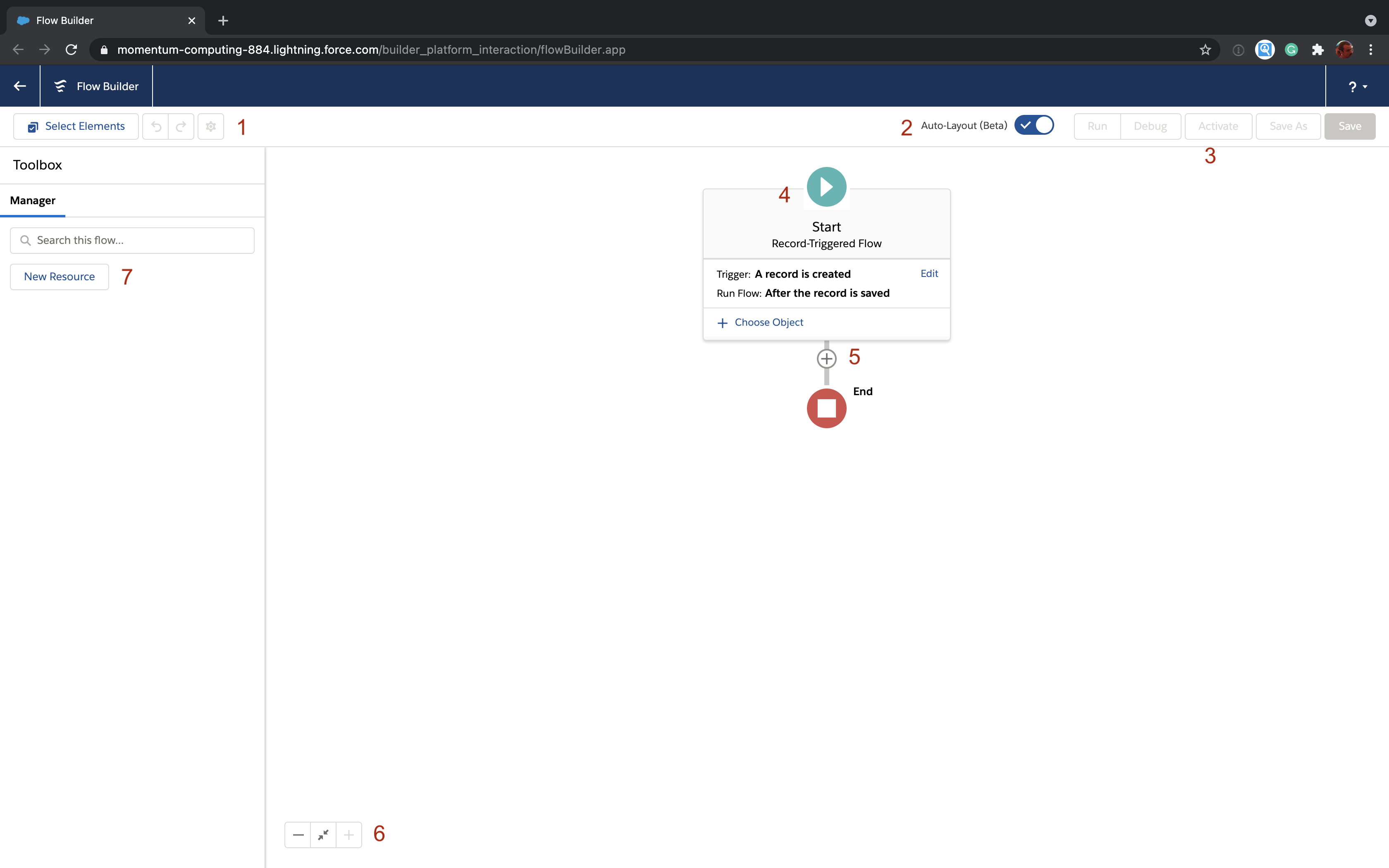Salesforce Flow Builder layout