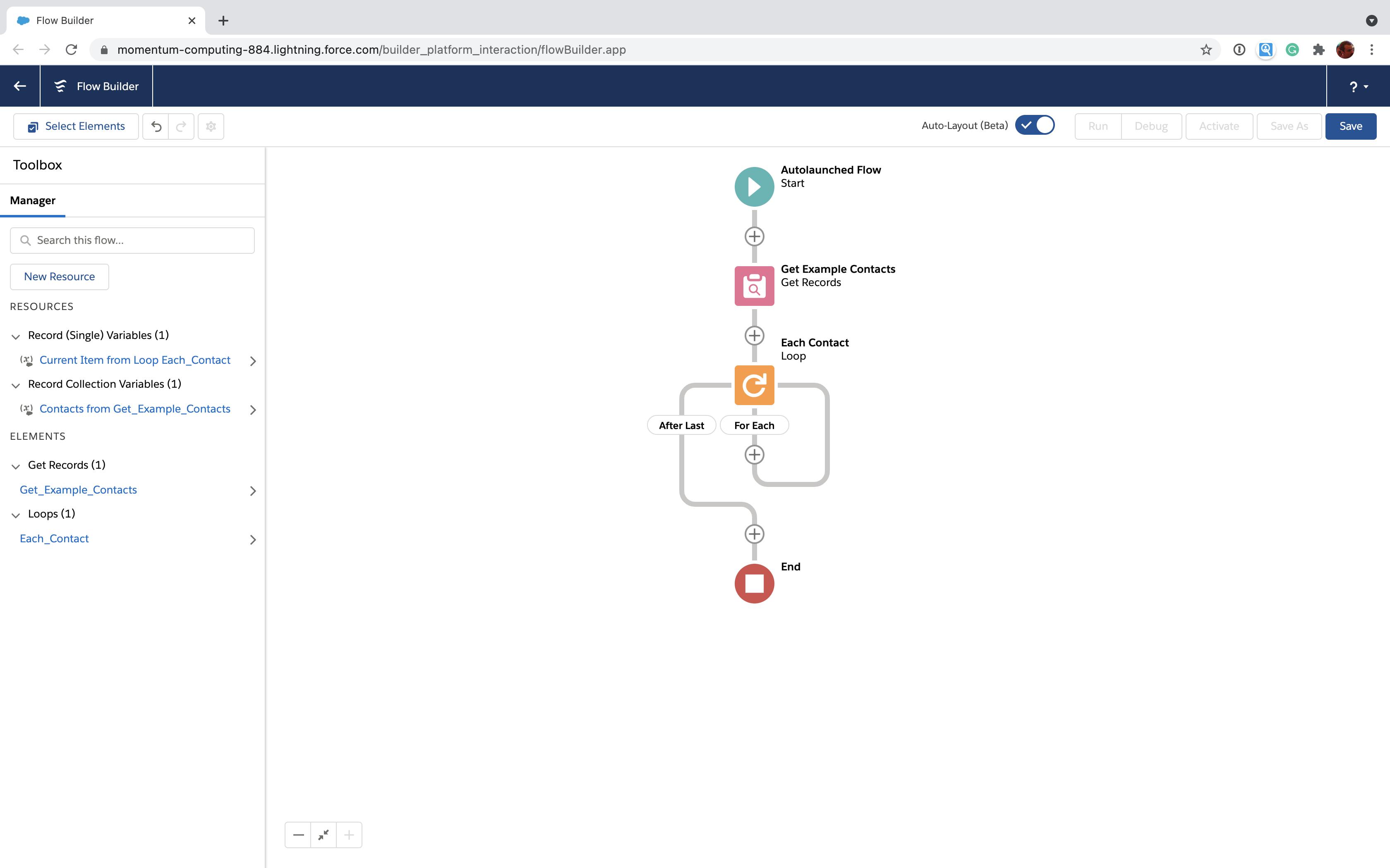 Salesforce Flow loop structure