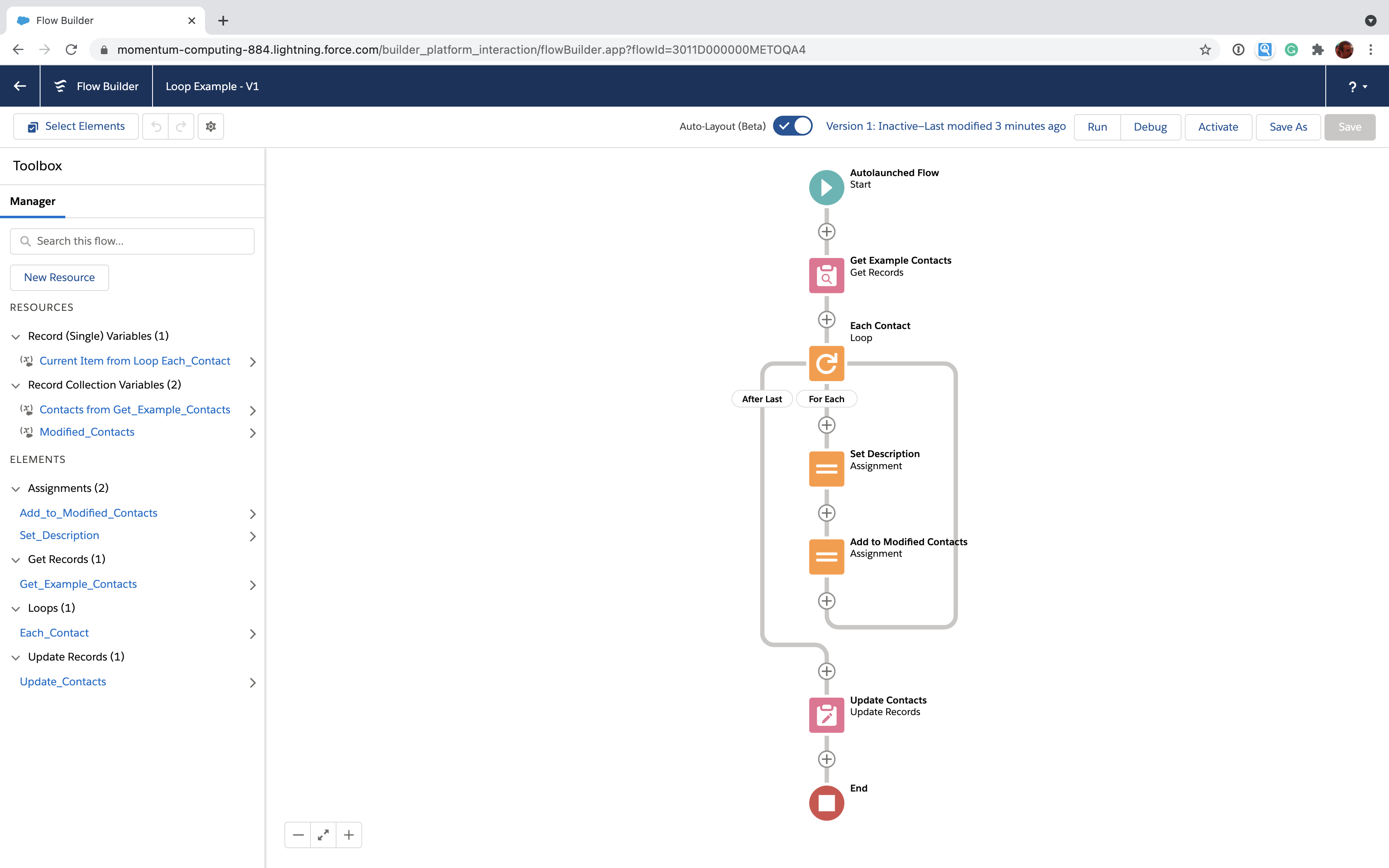 Full Salesforce Flow loop with record update
