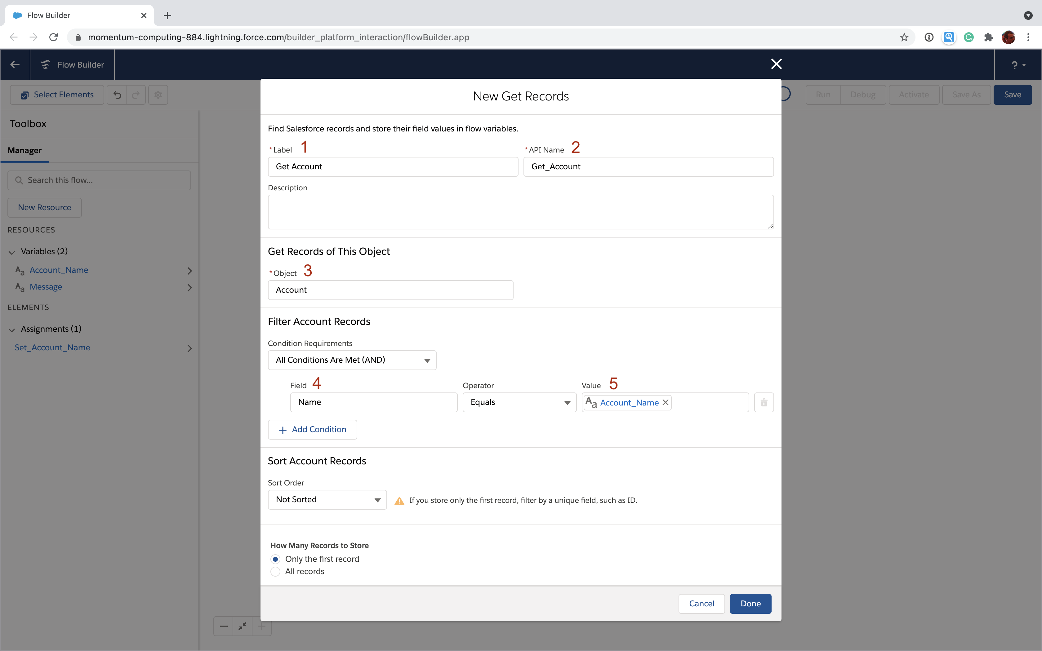 Use the Account_Name variable to retrieve an Account in Salesforce Flow