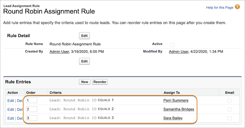 Lead Assignment Rules screenshot from Salesforce Help