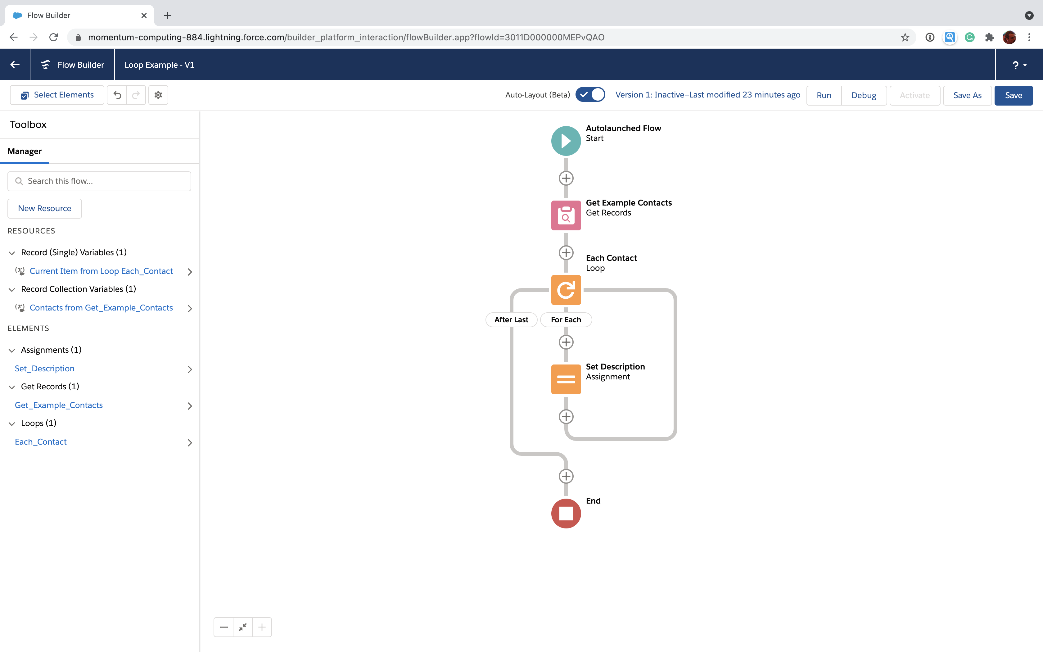 Salesforce Flow with element for each item