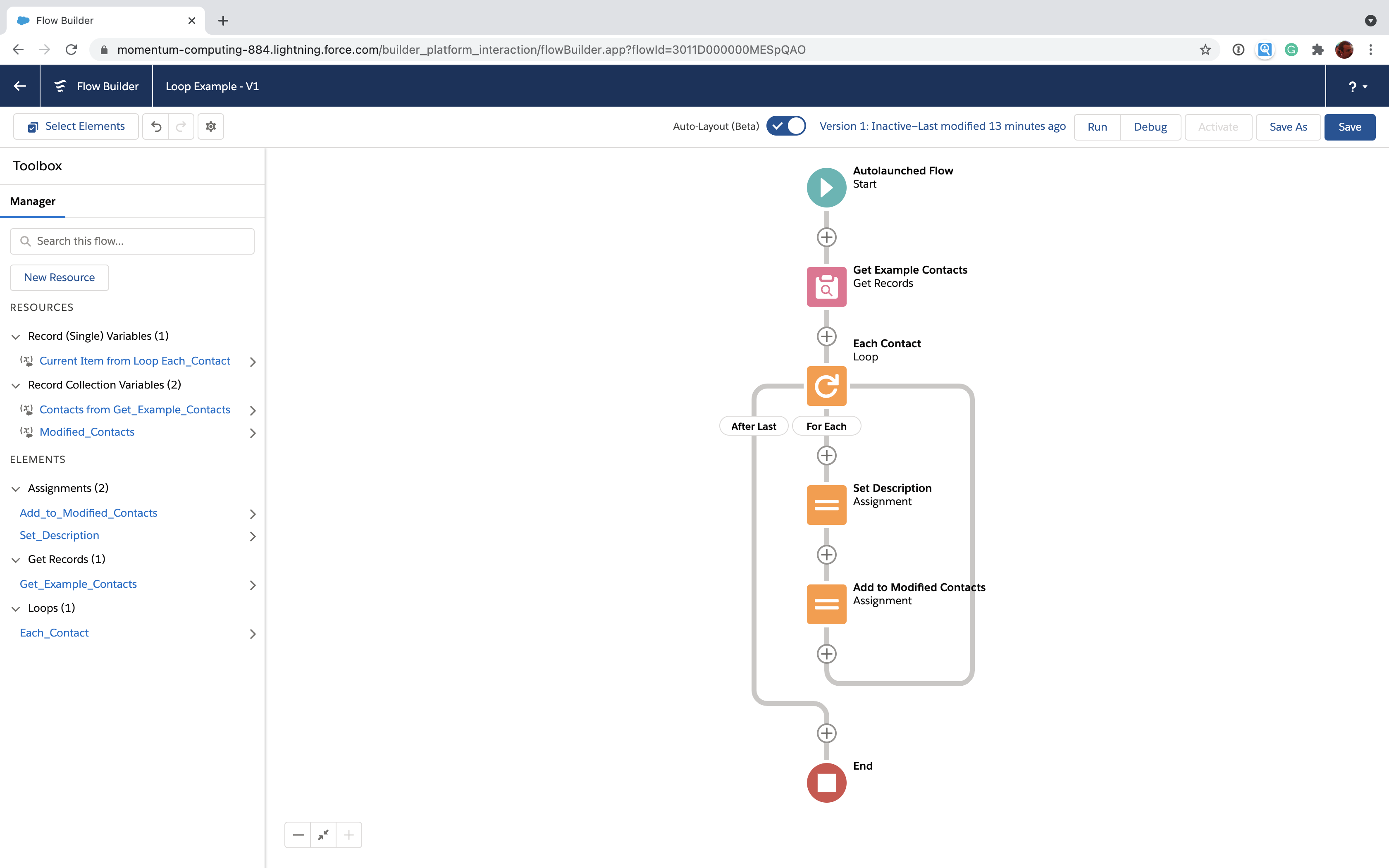 Salesforce Flow loop with for each elements
