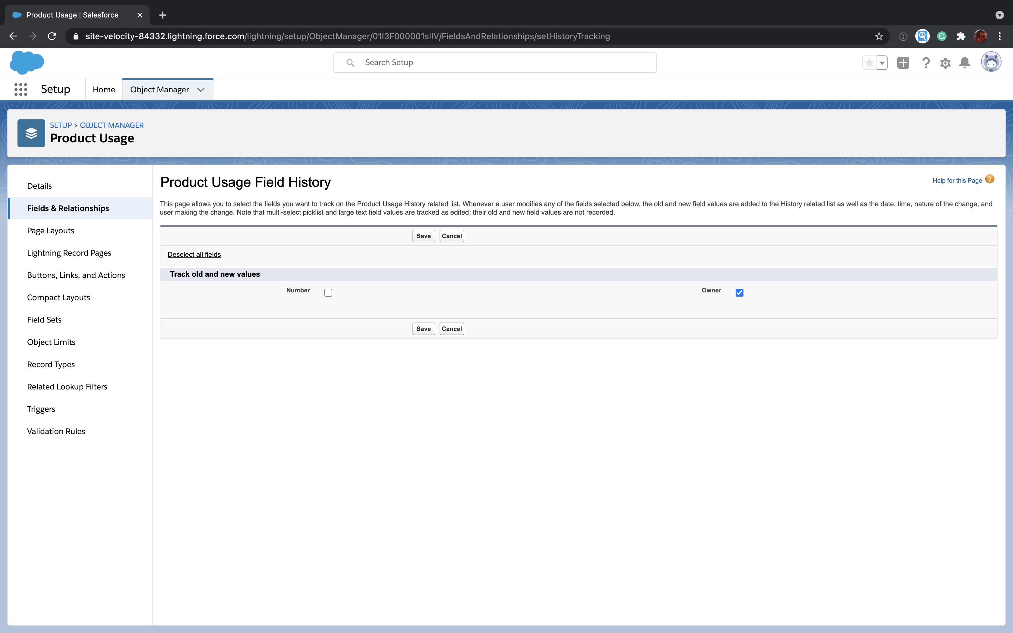 Edit Salesforce custom object field history tracking