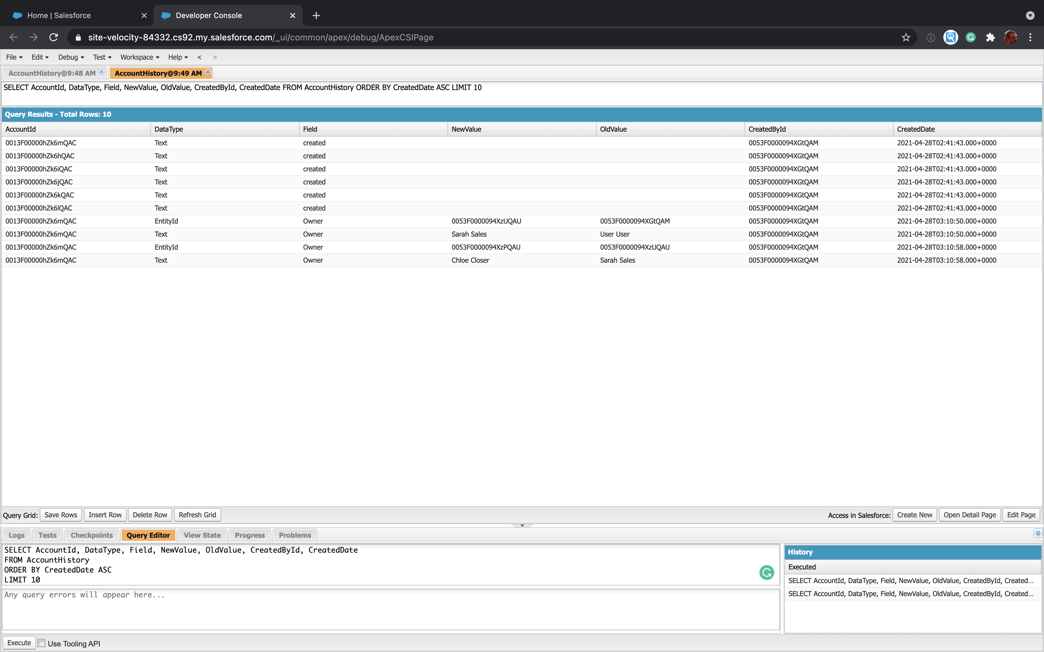 Using SOQL to query a Salesforce field history object