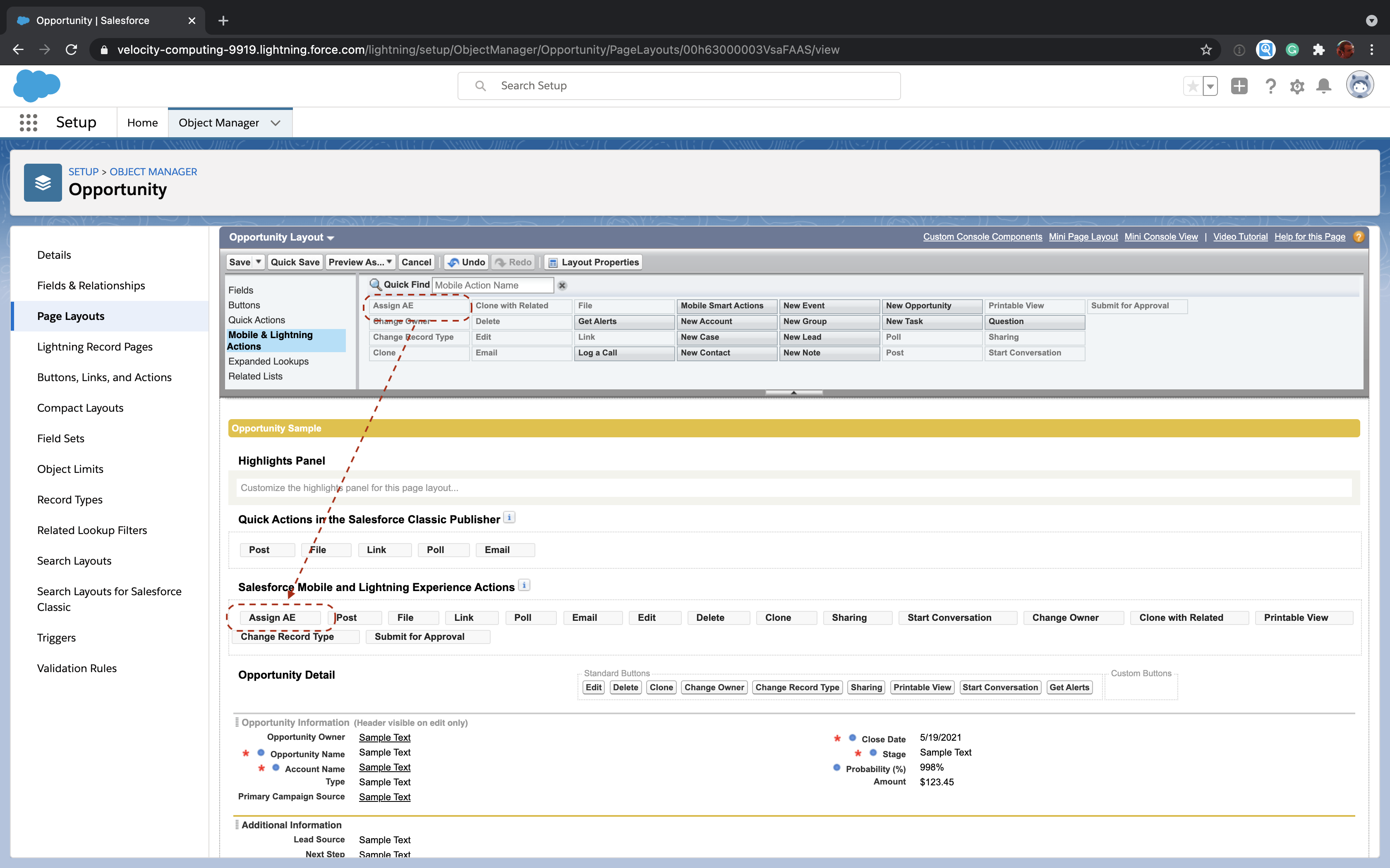 Salesforce Opportunity page layout editor showing how to drag the Assign AE action into the layout