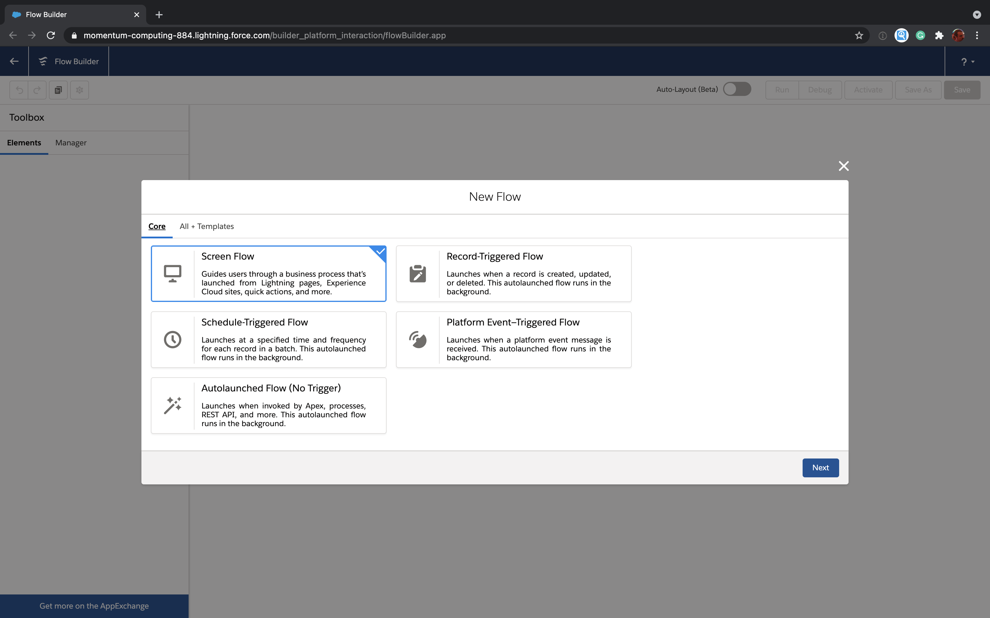 New Salesforce Flow dialog