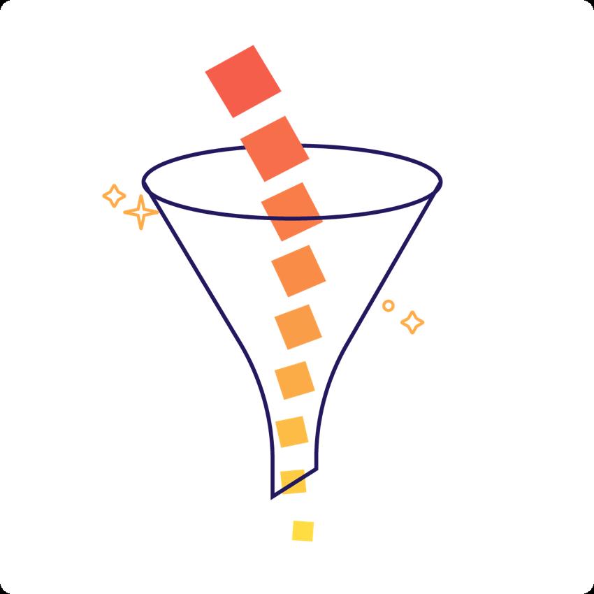 Illustration of a sales funnel